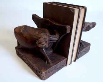 Hand Carved Set of Two Wooden Bull Bookends - Steer Bookends - Water Buffalo - Floyd Jones Vintage