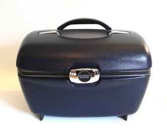Vintage American Tourister Navy Blue Train Case - Floyd Jones Vintage