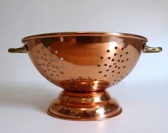 Heavy Duty Copper and Brass Kitchen Colander - Floyd Jones Vintage