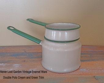 Double Boiler Cream and Green Enamel Ware Vintage