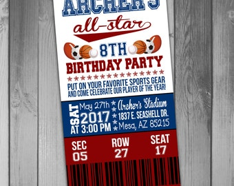 Sports Birthday Invitation Ticket Invitation Sports Ticket Printable Birthday Invitation Sports Birthday Party Sports Party Ticket Birthday