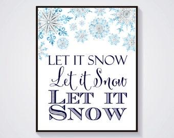 Let it Snow Printable Christmas Art, Printable Christmas Decor, Let it Snow Typography Print, Holiday Decoration, Instant Download 204-B