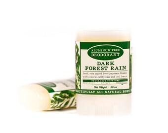 SUMMER SALE - Dark Forest Rain Travel Size Deodorant - All Natural & Aluminum Free Deodorant - Masculine - Warm Earth, Moss, Lemongrass