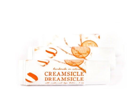 SUMMER SALE - Creamsicle Dreamsicle Lip Balm - All Natural - Sweet Vanilla Orange Cream