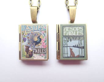 Aesops Fables Resin Covered Locket Book Necklace