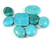25mm to 35mm Magnesite Stone Mixed Lot, Extra Large Beads, Turquoise Blue, 8 Stone Beads, Centerpiece Beads, Pendant Beads, Craft Beading