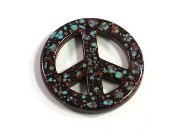 Magnesite Stone Pendant, Dyed Dark Rusty Red, Imitation Turquoise Stone, Peace Sign, Retro Pendant, 35mm, Craft Beading, Supply Shop