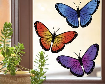 CLR:WND - Color Butterflies Multipack of 3 - Butterfly D1 - See-Through Vinyl Window Decal - © 2015 YYDC. (3 Pack) (Size Choices)