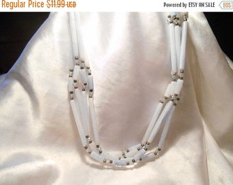 50% OFF SALE Powder Blue Plastic Rod and Bead Vintage Multi Strand Necklace