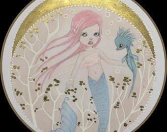 Original art friendship mermaid and sea dragon fantasy art