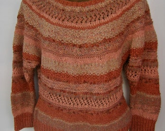 80s Sweater HAND KNIT Pullover One of a Kind Peach Soft Orange Cinnamon Rust STRIPES Dolman 3/4 Sleeves Slightly Fitted Size Medium to Large