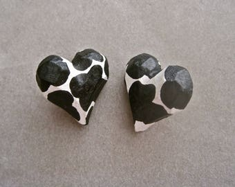 Heart Earrings Black and White Animal Print Carved Angled Wood Hand Painted Spotted Pierced Post Button Earrings Vintage 80s