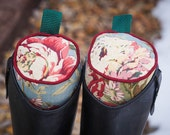 Made to Order  - Burgundy, Green, and Blue Cabbage Rose English Boot Trees