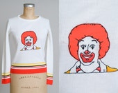 70s McDonalds Ski Sweater Ronald McDonald Clown Bohemian Winter Sweater