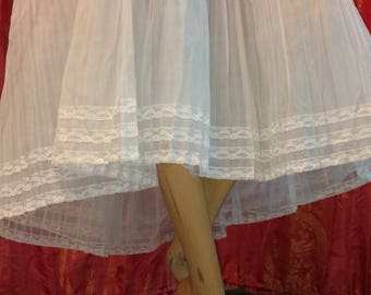 1950s Pale Blue Pleated Crinoline with White Lace Trim