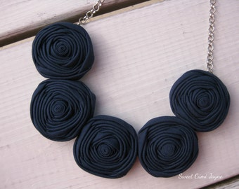 Navy Blue Rosette Necklace Fabric Jewelry Bib Necklace Statement Necklace Handmade Necklace Unique Necklace Textile Necklace Bridesmaid