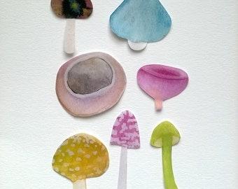 Mushrooms sticker ( 7 stickers)