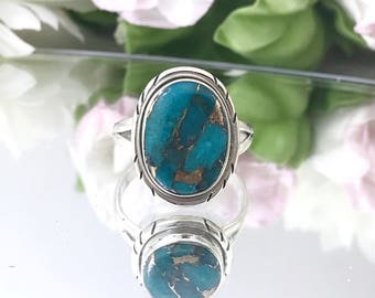 Superb Copper Turquoise Sterling Ring, Blue Stone Copper Turquoise Ring. Size 9 Bohemian Rings, Southwest 925 Navajo Style Ring. Detailed.