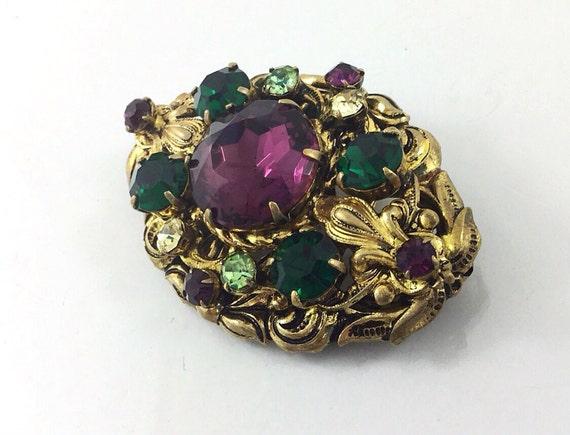 Vintage Filigree Purple West Germany Brooch with Rhinestone, purple rhinestone brooch with green rhinestones. Emerald Peridot Amethyst glass