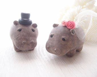 Custom Love Wedding Cake Toppers - Hippopotamus with base