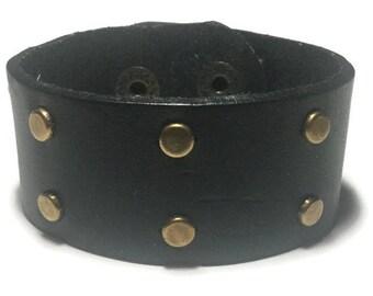 Black Leather Studded Cuff - Studded Leather Bracelet Cuff - Leather Bracelet - Studded Black Leather  Bracelet