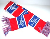 """Vintage Pabst Blue Ribbon Beer scarf 90s knit long fringed scarf  6.5"""" x 62""""  red blue white Christmas scarf Gift Accessory New scarf NOS"""
