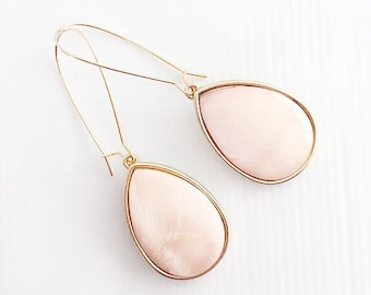Blush Pink Earrings, Light Pink and Gold Earrings, Blush Pink Teardrop Earrings, Blush and Gold Earrings, Blush Pink Bridesmaid Earrings