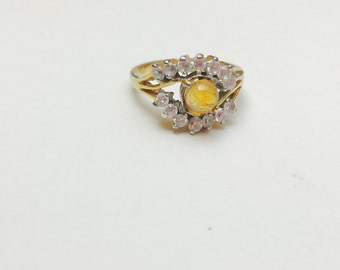 Vintage Gold plated statement Ring size 6, clear CZ and citrine color stone, item No. S474