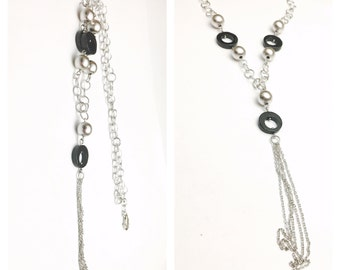 Vintage silver tussle PENDANT/Necklace, round, black, Stamped .925, Clearance Sale, item no. E206