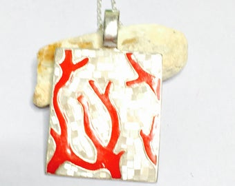 Coral & Mother of Pearl inlay Pendant, stamped .925, Clearance Sale, Item No. S272