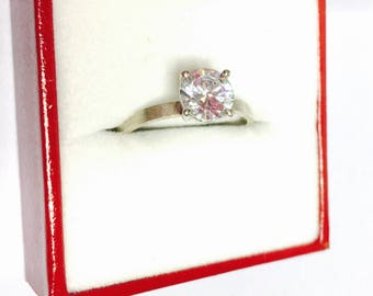 Vintage Engagement Ring Size 7.5, silver and Clear C Z, Romantic Accessory, Item No. S282