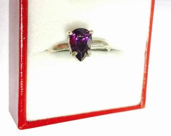 Amethyst Ring Size 8, Vintage Solitaire, Pear Shape Violet Stone, Clearance SALE, Item No. S393