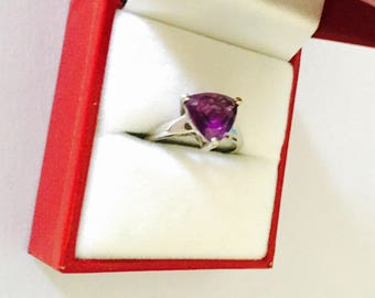 Art Deco amethyst ring Size 6., silver, geometrical stone, Clearance Sale, item No. S501