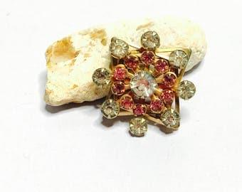 Flower Brooch, Vintage Gold Tone, Pink & Clear Rhinestones, Clearance Sale, Item No. B772