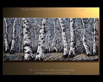 Painting on canvas Silver Forest PALETTE KNIFE original  texture monochromatic art By Paula Nizamas