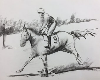 """Original 11"""" x 14"""" Charcoal Drawing, horse race, gesture drawing, sketch, black and white fine art, modern art, contemporary realism."""