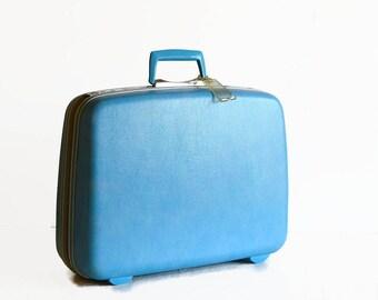 vintage Samsonite suitcase with key blue 1960s wedding travel luggage