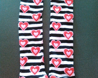 Black and White Striped Heart Leg and Arm Warmers