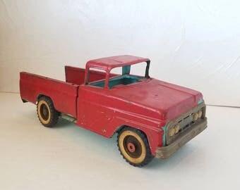 Vintage Red Aqua Toy Truck Metal Large Christmas Decor