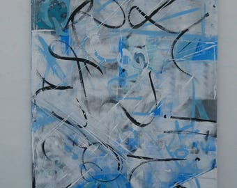 Painting -Blue Painting- Abstract Painting-Geometric
