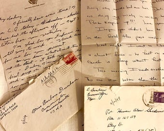Vintage Love Letters, Late 40s-50s, Handwritten Courting Correspondence from Solider and his Betrothed, Set of Four