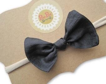 Black Bow Headband, Infant Headbands, Nylon Headband, Infant Hair Bow, Baby Hairband, Black Bow, Toddler Clips, Infant Gift, Ready To Ship
