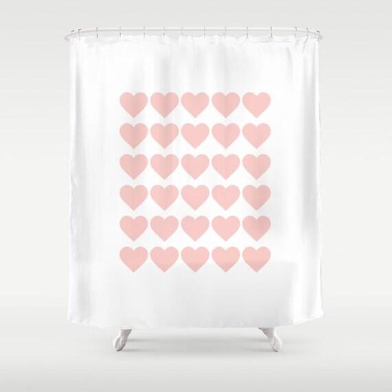 2 colours pink hearts pattern shower curtain rose quartz for Quartz bathroom accessories