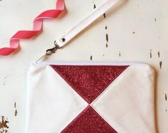 Summer Clutch Vegan Wristlet Wallet Faux Suede Zip Pouch Hot Pink Bag White Canvas Zipper Pouch