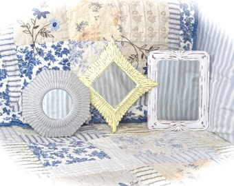 SUMMER SALE Shabby Yellow White Gray Distressed Ornate Retro Starburst Small Wall Mirror Picture Frame Cottage Chic Set of 3