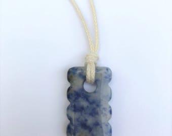 CLEARANCE - Mama Necklace / Nursing Necklace - Sodalite Gemstone on black Cotton Cord (Adjustable)
