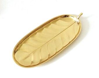Vintage Solid Brass Leaf Tray, Leaf Platter, International