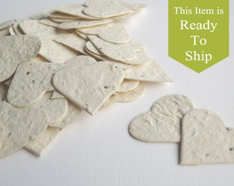 Ivory Plantable Seed Paper Confetti Hearts - READY-TO-SHIP - Wedding Favors, Bridal Shower Favors, Baby Shower Favors, Thank You Notes