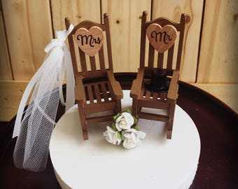 Rustic  Wedding Cake Toppers / Wedding Cake Topper Cabin Chairs / rocking chair Wedding/ Rustic Wedding / Camping Wedding