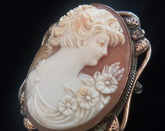 Vintage Carved Shell Cameo Brooch Pin Gold Filled Frame Estate Jewelry Signed 1/20 12K GF Antique High Relief Carved Cameo Brooch